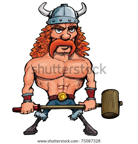 Cartoon viking with a big hammer. Isolated on white - stock vector