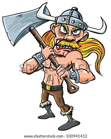 Cartoon Viking with huge axe. Isolated on white - stock vector