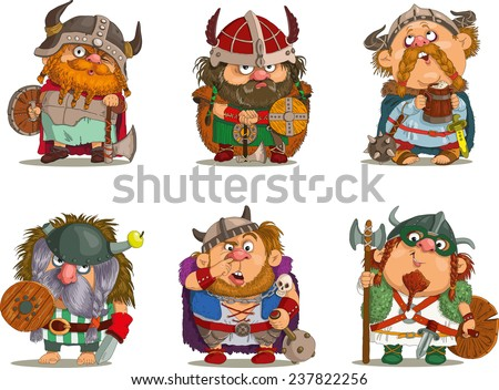 Cartoon vikings.                                                                           Funny cartoon. Characters. Vikings set. Isolated objects. Vector - stock vector