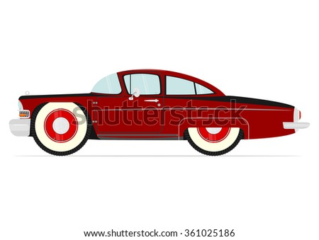Cartoon vintage car on a white background. Vector - stock vector