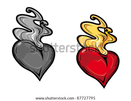 Cartoon vintage red heart with fire for tattoo design, such a logo. Rasterized version also available in gallery - stock vector