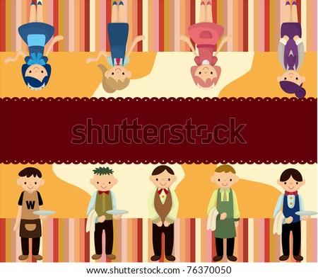 cartoon waiter and waitress card - stock vector
