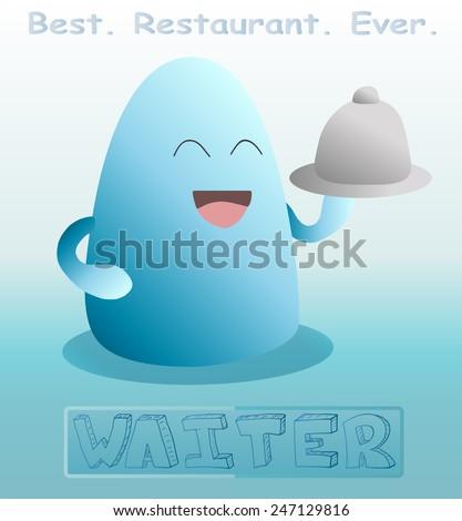 cartoon waiter vector illustration - stock vector
