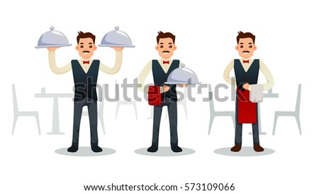 Cartoon waiter with mustache. different poses. Vector illustration. isolated on white. set