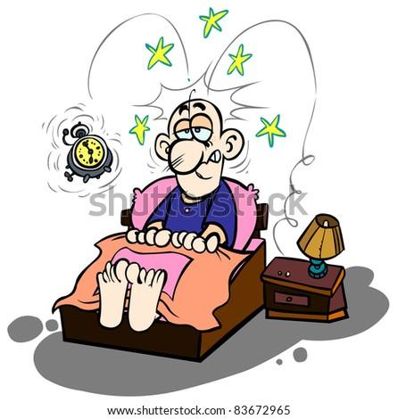 Cartoon waking-up. - stock vector