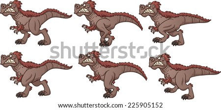 Cartoon walking T-rex ready for animation. Vector clip art illustration with simple gradients. Each frame on a separate layer. - stock vector