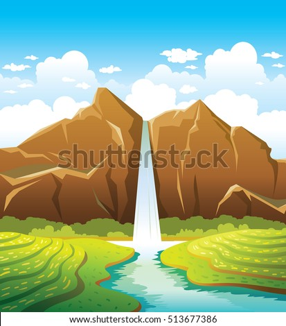 Cartoon waterfall with forest and calm river on a blue cloudy sky background. Summer landscape. Nature vector illustration.