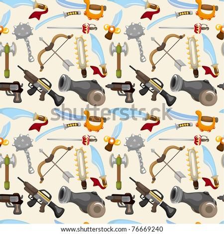 cartoon weapon set seamless pattern - stock vector