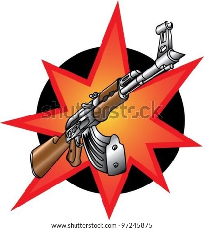 Cartoon weapons, automate - stock vector