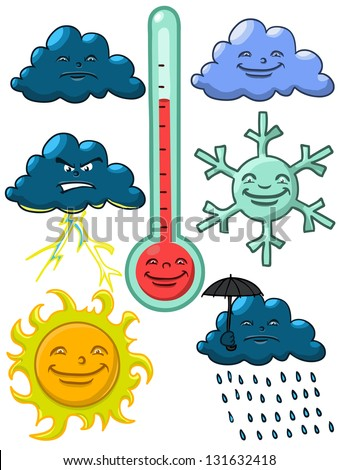 Cartoon Weather Elementsvectors Isolated On White Stock Vector ...