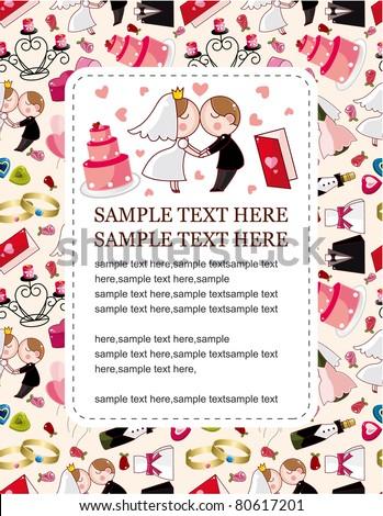 cartoon wedding card - stock vector
