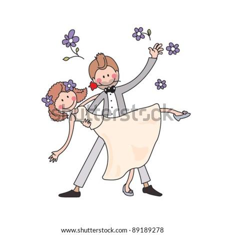 Cartoon wedding dance - stock vector