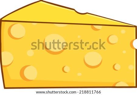 Cartoon Wedge Of Yellow Cheese - stock vector
