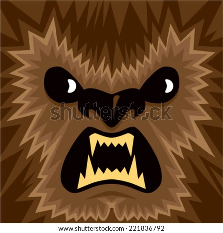 Cartoon Werewolf Face - stock vector