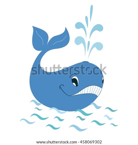 Cartoon whale smiling in sea vector illustration.