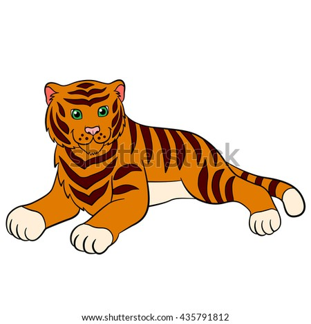 Cartoon wild animals for kids: Tiger. Cute striped tiger lays and smiles.