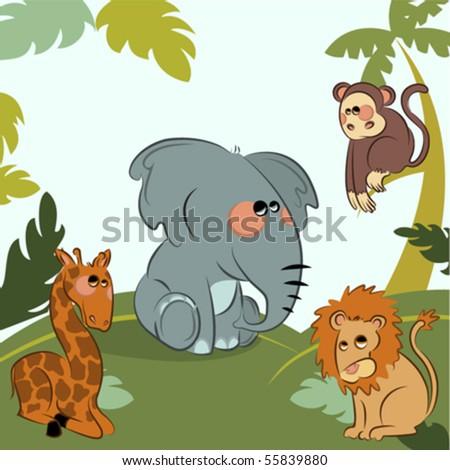 cartoon wild animals in the jungle - stock vector