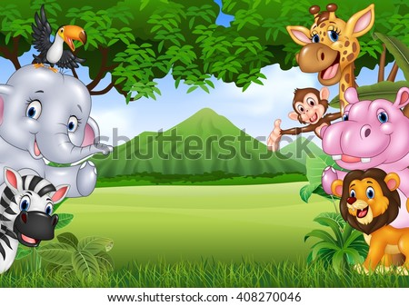 Cartoon wild animals with nature landscape background - stock vector