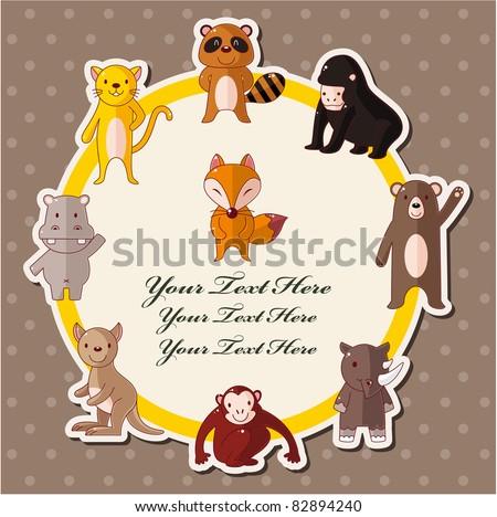 cartoon wildlife animal card - stock vector