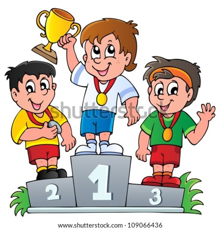 Cartoon winners podium - vector illustration. - stock vector