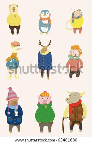 cartoon winter animal - stock vector