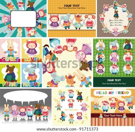 cartoon winter animal card - stock vector