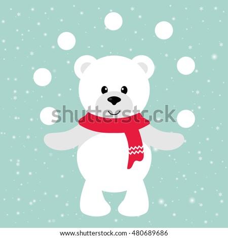 christmas caroler polar bear stock vector 106945049. Black Bedroom Furniture Sets. Home Design Ideas
