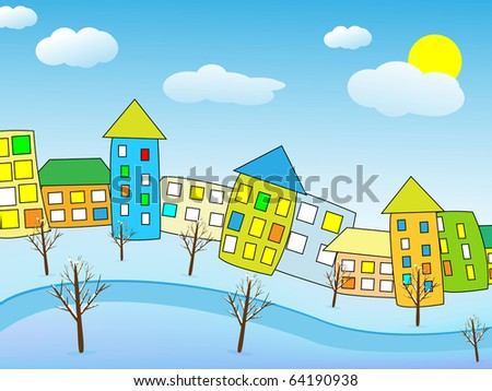 Cartoon winter city. Vector illustration - stock vector
