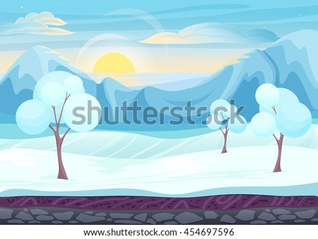 Cartoon winter game style landscape with with ice, trees, cloudy sky and snow mountains hills. Background for games - stock vector