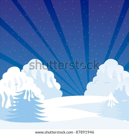 cartoon winter shrubbery with snow, night landscape. vector