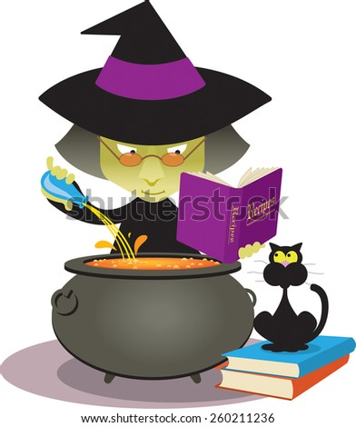 Cartoon witch brews a magic potion in her cauldron as her black cat watches. Vector illustration - stock vector
