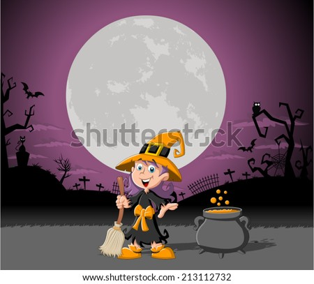 Cartoon witch girl on halloween cemetery background  - stock vector
