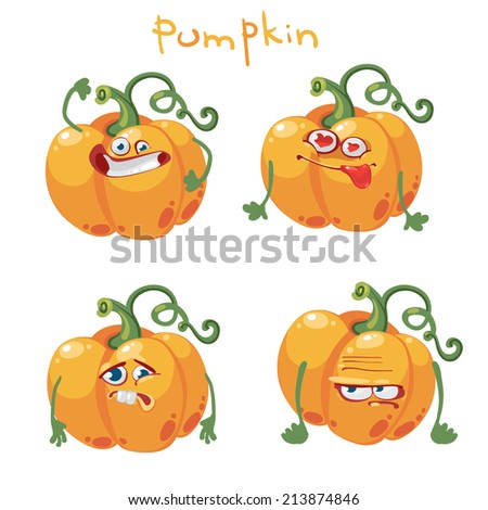 Cartoon with many expressions pumpkin - stock vector