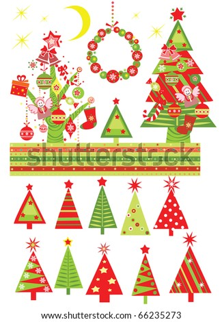Cartoon with xmas tree - stock vector