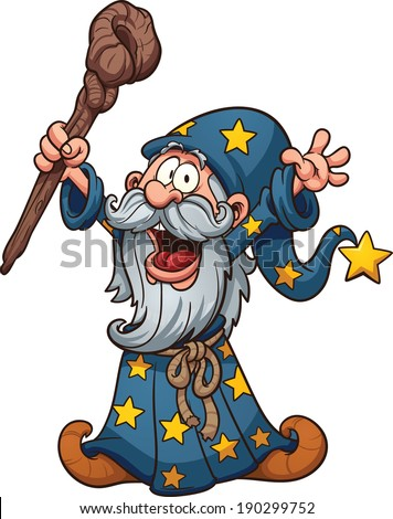 Cartoon wizard. Vector clip art illustration with simple gradients. All in a single layer.  - stock vector