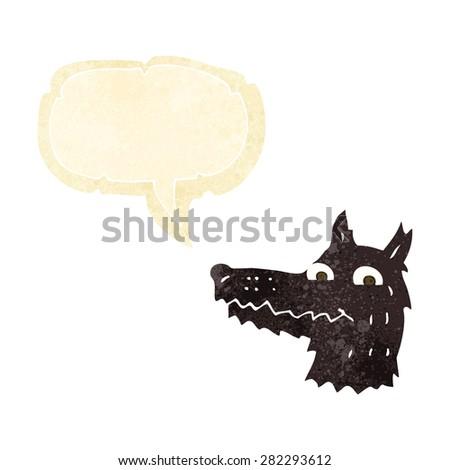 cartoon wolf head with speech bubble - stock vector