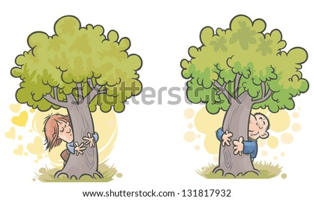 Cartoon Woman and Man Tree huggers.