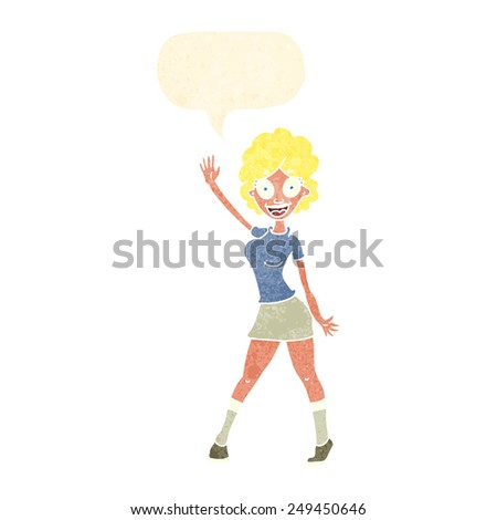 cartoon woman dancing with speech bubble