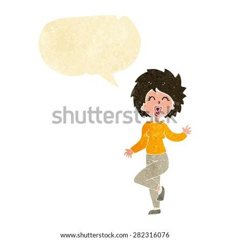 cartoon woman dancing with speech bubble - stock vector