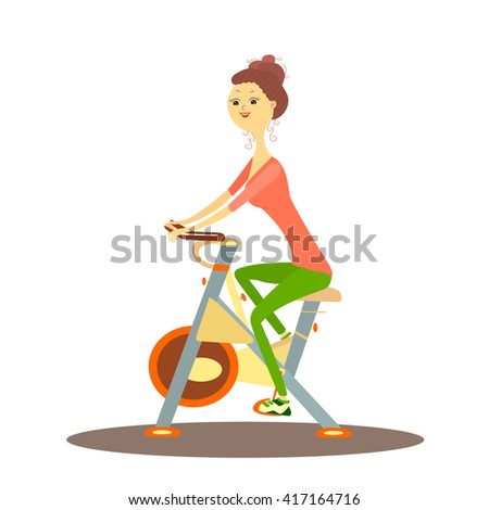 Cartoon woman on exercise bike. Vector illustration of girl on bike. Sporty woman indoors. Woman on bike in gym. Woman doing biking workout. Concept of health lifestyle. Workout in gym.