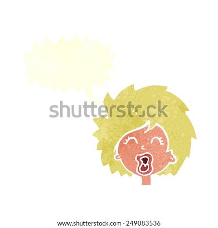 cartoon woman screaming with speech bubble - stock vector