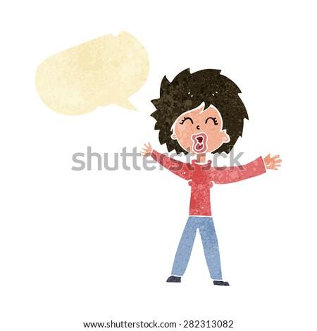 cartoon woman shouting with speech bubble - stock vector