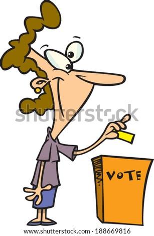 cartoon woman voting - stock vector