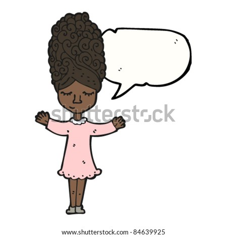 cartoon woman with beehive hairdo - stock vector