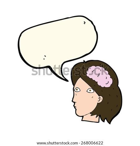 cartoon woman with brain - stock vector