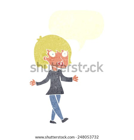 cartoon woman with open arms with speech bubble - stock vector
