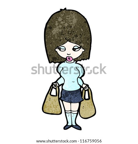 cartoon woman with shopping bags - stock vector