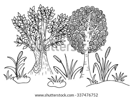 Cartoon wood with doodle trees - stock vector