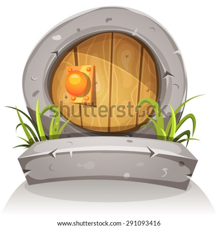 Cartoon Wooden And Stone Fairy Door For Ui Game/ Illustration of a cartoon comic funny little rounded wood door with stone doorframe for fantasy ui game - stock vector