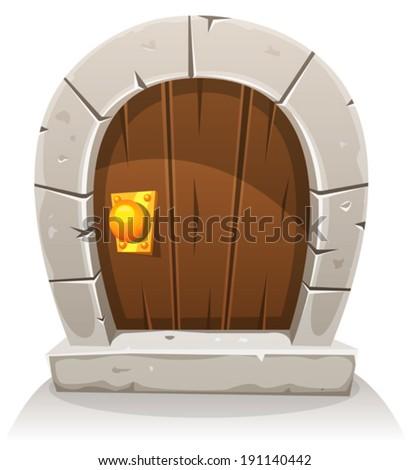 Cartoon Wooden And Stone Hobbit Door/ Illustration of a cartoon comic hobbit like funny little curved wood door with stone doorframe - stock vector